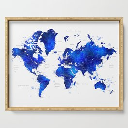 """Navy blue and cobalt blue watercolor world map with cities labelled, """"Carlynn"""" Serving Tray"""