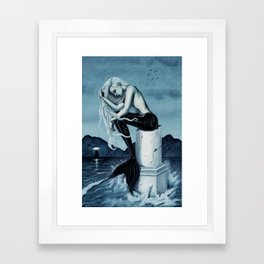 Stormy Seas Gothic Mermaid Framed Art Print