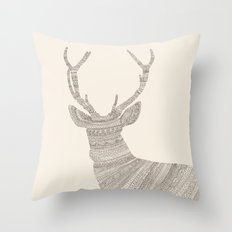 Stag / Deer (On Beige) Throw Pillow