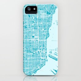 Miami Map | Blue & Cyan | More Colors, Review My Collections iPhone Case