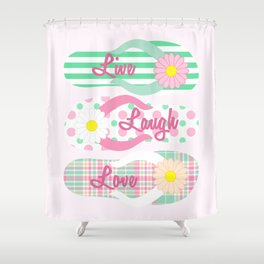 Live - Laugh - Love in Pink & Green Shower Curtain