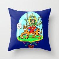 hindu Throw Pillows featuring Durga Hindu Goddess by MARICAMA