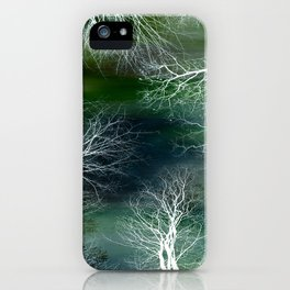 Abstract Midnight Trees Blue Teal Green iPhone Case