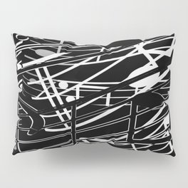music note sign abstract background in black and white Pillow Sham
