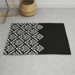 Damask Baroque Part Pattern White on Black Rug