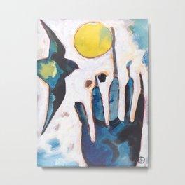 Bird and Hand Metal Print