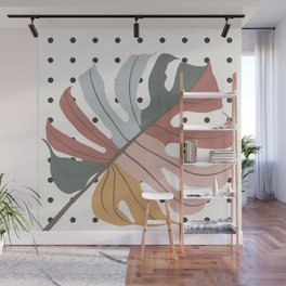 Colorful Monstera Leaf Wall Mural