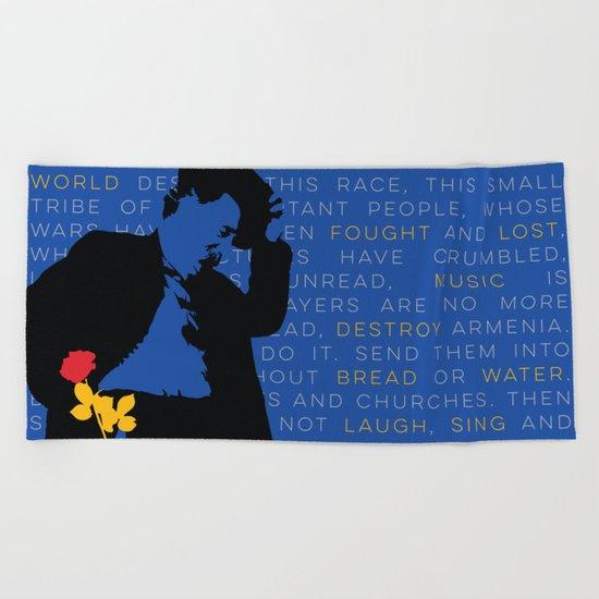 WILLIAM SAROYAN - Armenian Genocide Beach Towel