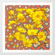 Golden Yellow Blooming Coreopsis Flowers Modern Art Art Print