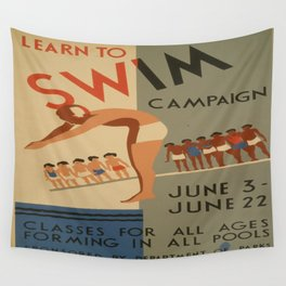 Vintage poster - Learn to swim Wall Tapestry