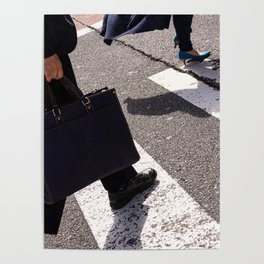 Group of businessmen and women walk along crosswalk in Shinjuku, Tokyo, Japan Poster