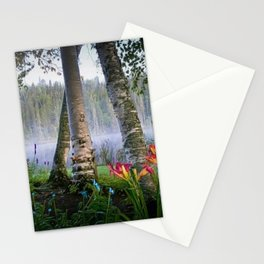 Springtime Calla Lilies in the Birch Tree Grove by the Lake landscape painting Stationery Cards