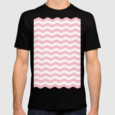 Wavy Stripes (Pink/White) MEDIUM Black Mens Fitted Tee