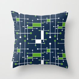 Intersecting Lines in Navy, Lime and White Throw Pillow