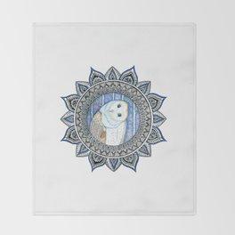 Winter Barn Owl Mandala Throw Blanket