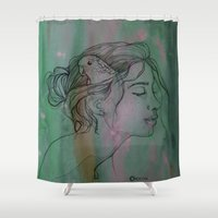 birdy Shower Curtains featuring Birdy by Eugénie Crand