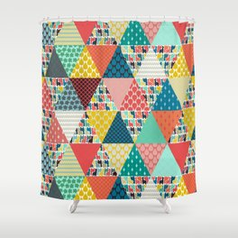 llama geo triangles Shower Curtain