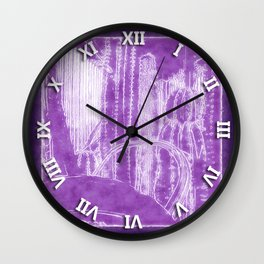Cactus Garden Outlined Purple Wall Clock