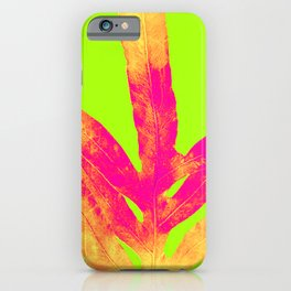 Green and Ultra Bright Coral Fern iPhone Case