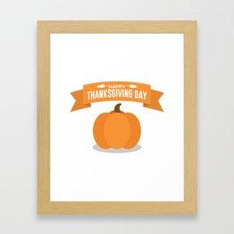 Happy Thanksgiving Day Pumpkin Design Framed Art Print