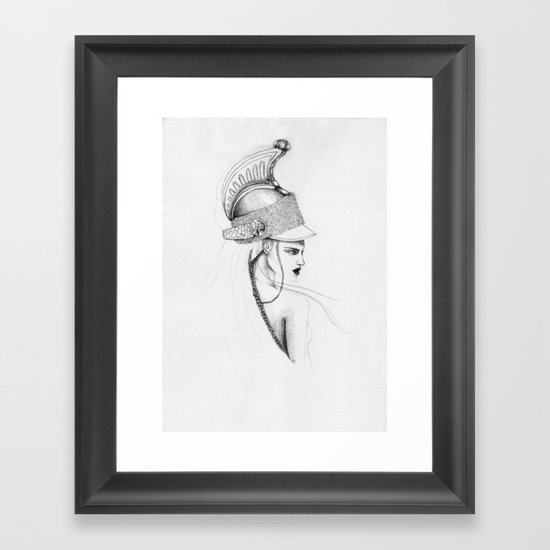 Girl & Helmet Framed Art Print