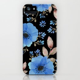 Blue flowers with black iPhone Case