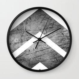 Grey And White Modern Geometric Grunge Chevrons Wall Clock