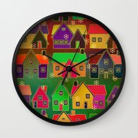merry christmas Wall Clocks featuring Merry Christmas! by Klara Acel