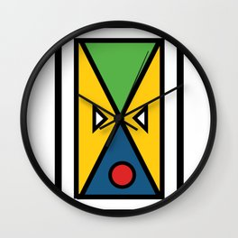 African colorful prints of geometry Wall Clock