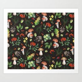 Watercolor Forest Mushrooms, Leaves, Flowers Art Print