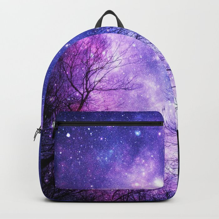 Black Trees Purple Blue Space Rucksack