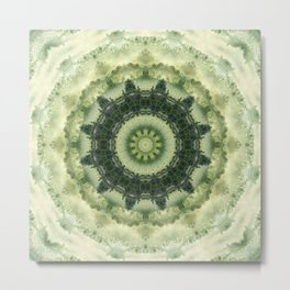 Mandala in Green gentle tones . Metal Print