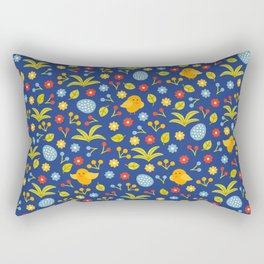 Easter Eggs and Yellow Baby Chick Pattern Rectangular Pillow