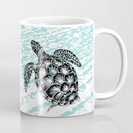 Sea turtle print in black and white Coffee Mug