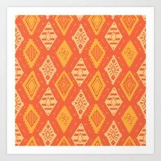 Orange Tribal Print Art Print