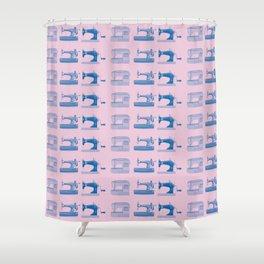 Vintage Sewing Thread Machine Needle Pattern Shower Curtain