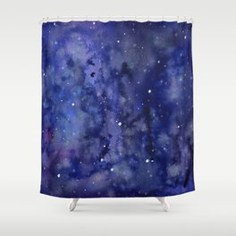 Night Sky Galaxy Nebula Stars Watercolor Space Texture Shower Curtain