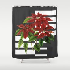 vintage poinsettia on modern background Shower Curtain
