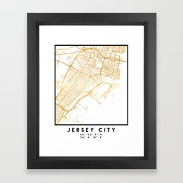 JERSEY CITY NEW JERSEY STREET MAP ART Framed Art Print