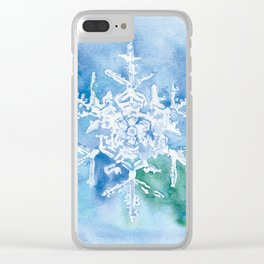 Snowflake Watercolor Clear iPhone Case