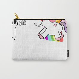 Unicorn Halloween The Unicorn Is Afraid Of The Ghost I Love Halloween Carry-All Pouch