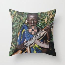Mursi Tribeswoman Throw Pillow
