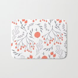 Red Berry Floral Bath Mat