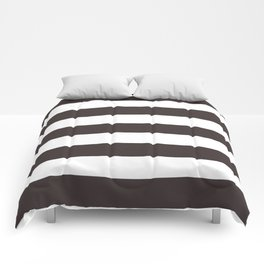 Black coffee - solid color - white stripes pattern Comforters