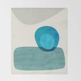 Stacking Pebbles Blue Throw Blanket