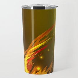 A bonfire with tongues of flame and sparks for the design of summer night ideas. For postcards and f Travel Mug