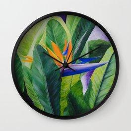Bird of Paradise Painting by Teresa Thompson Wall Clock