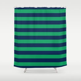 Green and blue stripes Shower Curtain