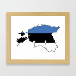 Estonia Map with Estonian Flag Framed Art Print