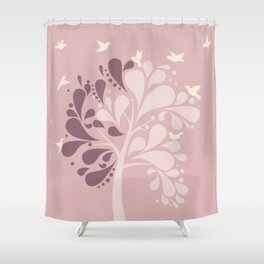 Shady Tree Rose Gold Color Shower Curtain